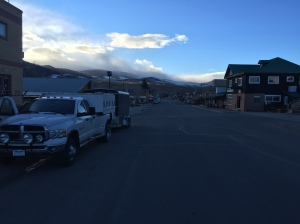 Here's the dog rig parked in downtown Dubois, Wyoming — elevation 6,940 ft.