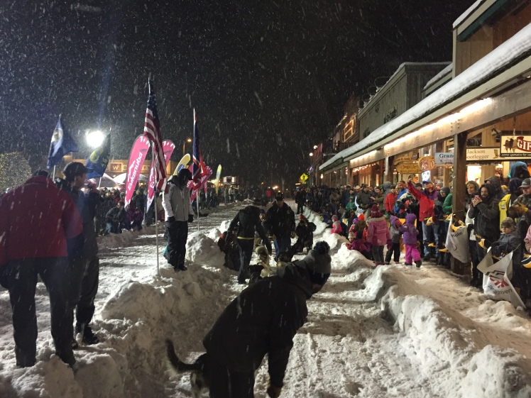 The BlackJack team gets ready to take off in front of spectators gathered for the ceremonial start of the 2016 Eukanuba Stage Stop race in Jackson, Wyoming.