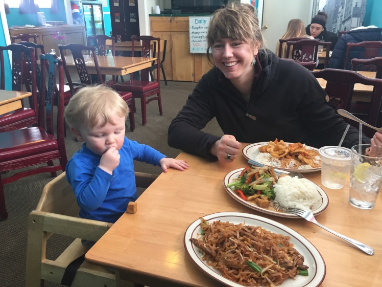 "...and ""people care"" happens in the local Thai restaurant! Darcy and Leo have had a great time making new friends along the trail."
