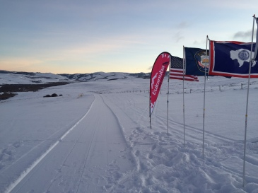 The trail before the race start this morning. It did not stay this pristine, and got soft for a good part of the 42-mile run.