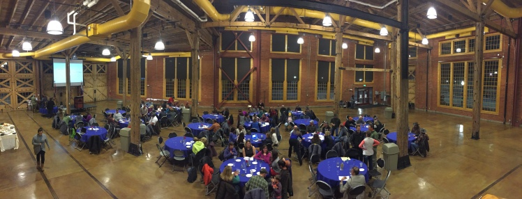 Awards banquet in the roundhouse in Evanston.
